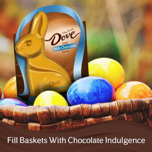 DOVE Easter Candy Milk Chocolate Candy Solid Chocolate Easter Bunny Box Perspective: left