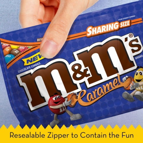 M&M'S, Caramel Chocolate Candy, Sharing Size, 9.6 Oz Bag Perspective: left