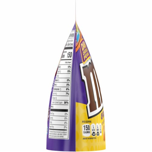 M&M's Dark Chocolate Peanut Candies Sharing Size Bag Perspective: left