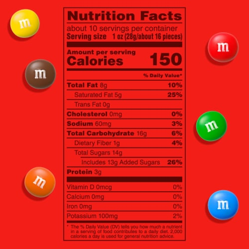 M&M's Peanut Butter Milk Chocolate Candy Sharing Size Bag Perspective: left
