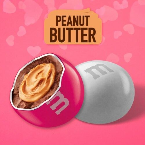 M&M'S Valentines Day Peanut Butter Chocolate Valentine Candy Bag Perspective: left