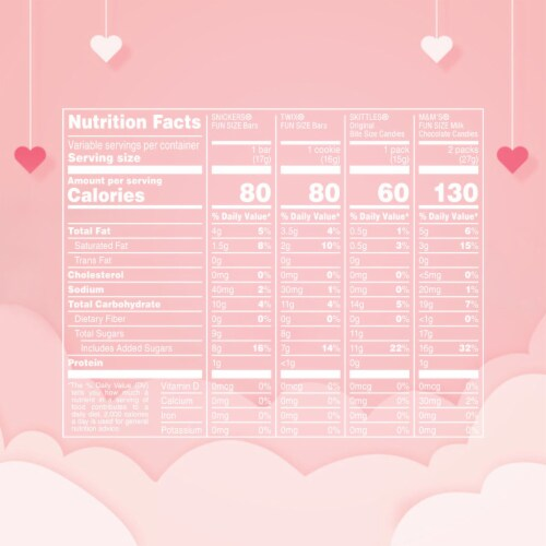 M&M'S SNICKERS SKITTLES TWIX Valentine Class Exchange Assorted Valentines Candy Perspective: left