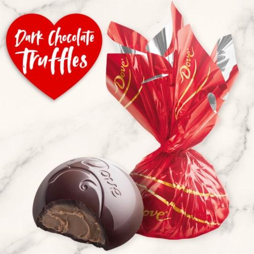 DOVE Valentines Day Dark Chocolate Truffles Valentine Candy Tin Tube Perspective: left