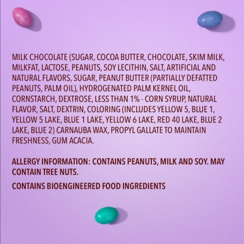M&M'S Peanut Butter Chocolate Candy Speckled Eggs Easter Candy Bag Perspective: left
