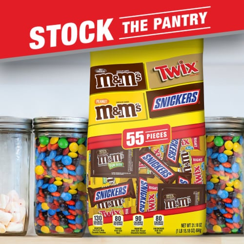 SNICKERS, M&M'S & TWIX Fun Size Chocolate Candy Variety Mix, 31.18-Ounce 55 Piece Bag Perspective: left