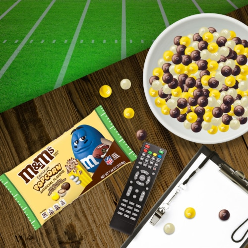 M&M's Milk Chocolate Popcorn Crisp Rice Center Halloween Candy Perspective: left