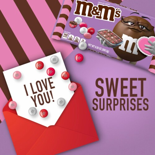 M&M'S Fudge Brownie Chocolate Valentine Candy Bag Perspective: left