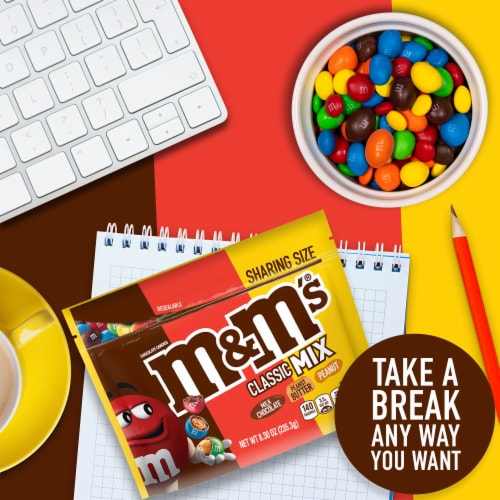 M&M's Classic Mix Chocolate Candy Sharing Size Bag Perspective: left