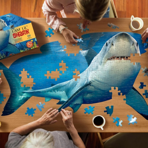I AM Lil Shark 100 Piece Animal-Shaped Jigsaw Puzzle Perspective: left