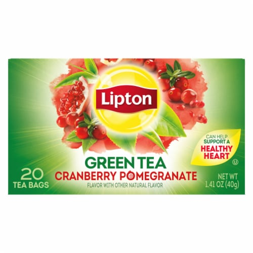 Lipton Cranberry Pomegranate Green Tea Bags Perspective: left