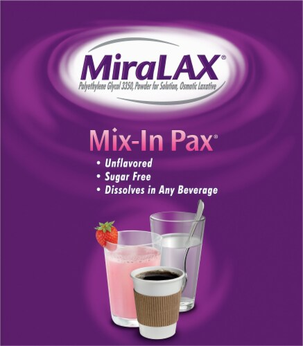 MiraLAX Laxative Powder Mix-In Packets for Gentle Constipation Relief Perspective: left