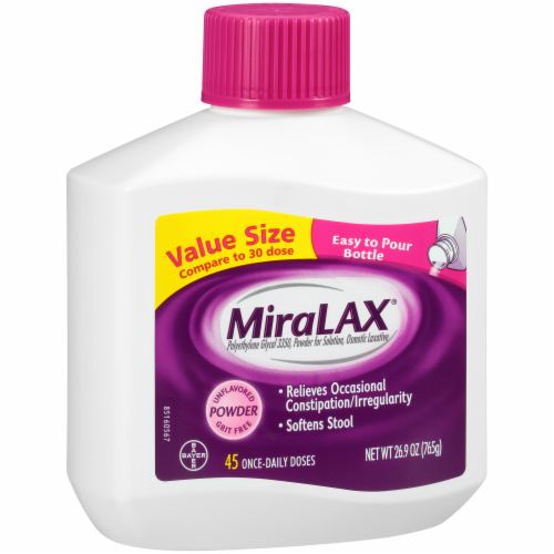 MiraLAX Laxative Powder for Gentle Constipation Relief Perspective: left