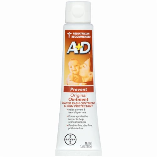 A+D Prevent Original Diaper Rash Ointment & Skin Protectant Perspective: left