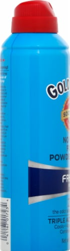 Gold Bond No Mess Foot Powder Spray Fresh Scent 2x Odor Absorbing Power Perspective: left