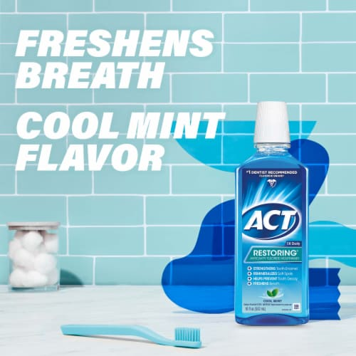 Act Cool Mint Restoring Anticavity Fluoride Mouthwash Perspective: left