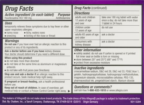 Allegra Non-Drowsy 24-Hour Allergy Relief Gelcaps 180mg Perspective: left