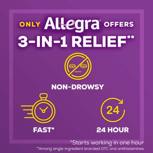 Allegra 24 Hour Non-Drowsy Indoor/Outdoor Allergy Relief Tablets 180mg Perspective: left