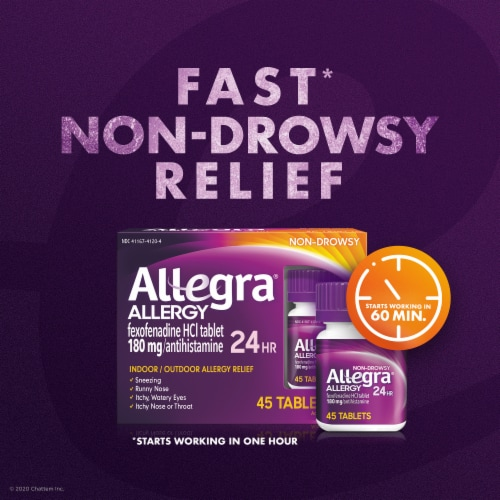 Allegra 24 Hour Non-Drowsy Allergy Relief Antihistamine Tablets 180mg Perspective: left
