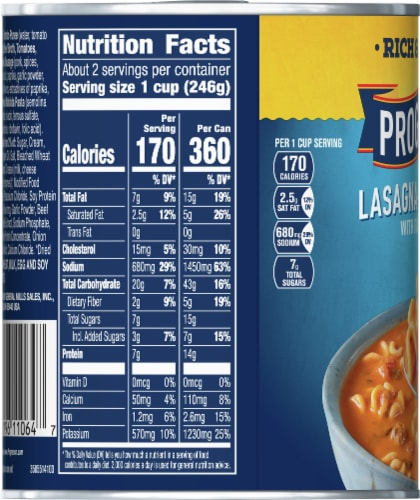 Progresso Rich & Hearty Lasagna-Style Italian Sausage Soup Perspective: left