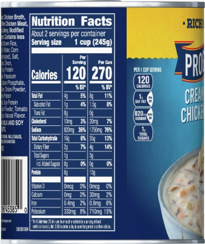Progresso Rich & Hearty Creamy Roasted Chicken Wild Rice Soup Perspective: left