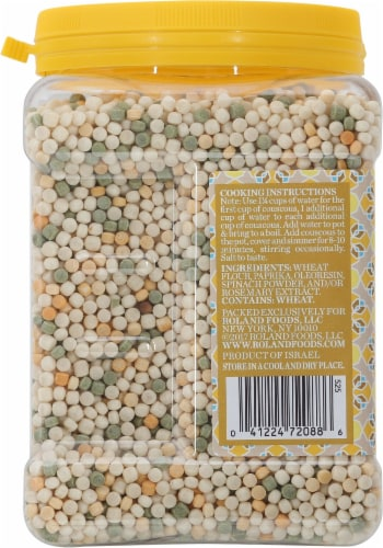 Roland Israeli Tri-Color Toasted Pasta Couscous Perspective: left