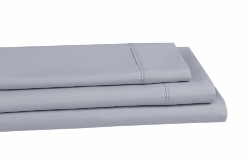 Everyday Living® 200 Thread Count Cotton Fitted Sheet - Quiet Gray Perspective: left