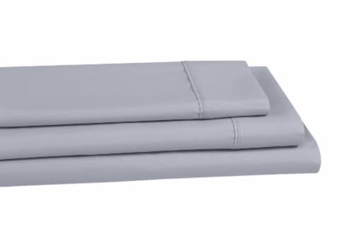 Everyday Living® 200 Thread Count Cotton/Polyester Fitted Sheet - Quiet Gray Perspective: left