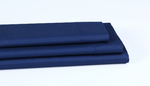 Everyday Living® Cotton/Polyester 200 Thread Count Flat Sheet - Estate Blue Perspective: left