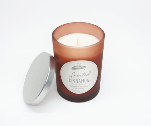 HD Designs Frosted Cinnamon Jar Candle Perspective: left