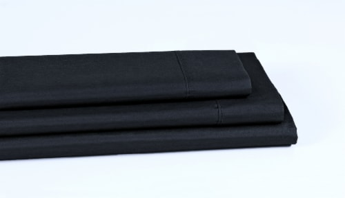 Everyday Living® Cotton/Polyester 200 Thread Count Flat Sheet - Jet Black Perspective: left
