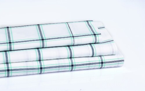 Everyday Living® Cotton/Polyester 200 Thread Count Flat Sheet - Jasper Plaid Perspective: left
