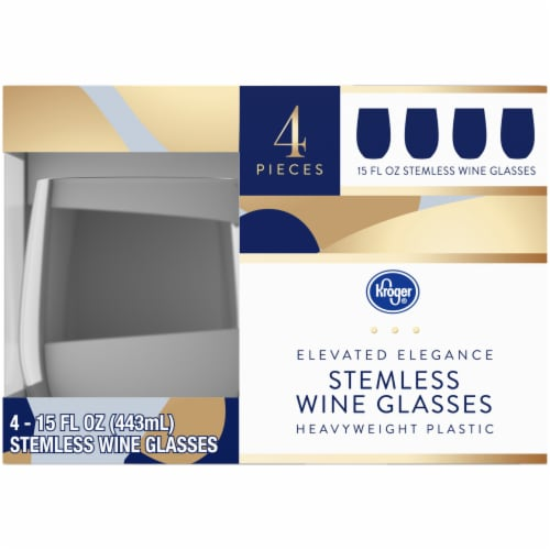 Kroger® Elevated Elegance Heavyweight Plastic Stemless Wine Glasses Perspective: left