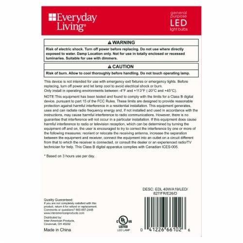 Everyday Living® 5.6-Watt (40-Watt) A19 LED Light Bulbs Perspective: left