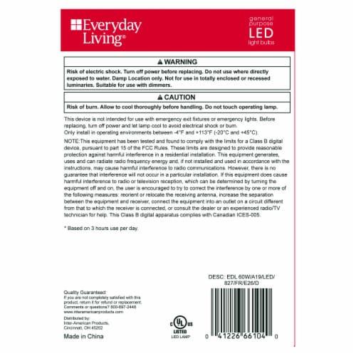 Everyday Living® 10-Watt (60-Watt) A19 LED Light Bulbs Perspective: left