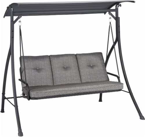 HD Designs Outdoors San Jose Three Seat Cushion Swing - Gray Perspective: left