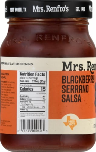 Mrs. Renfro's Medium Hot Blackberry Serrano Salsa Perspective: left