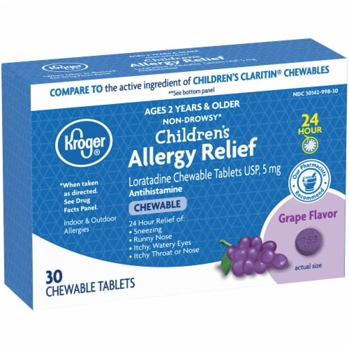 Kroger® Children's Allergy Grape Chewable Tablets Perspective: left