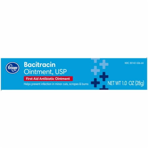 Kroger® Bacitracin First Aid Antibiotic Ointment Box Perspective: left