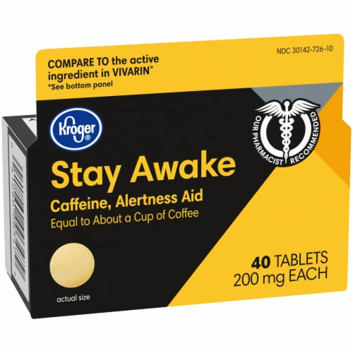 Kroger® Stay Awake Caffeine Tablets 200mg Perspective: left