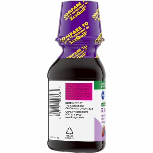 Kroger®  EZ Nite Sleep  Berry Flavor Nighttime Sleepe Aid Bottle Perspective: left