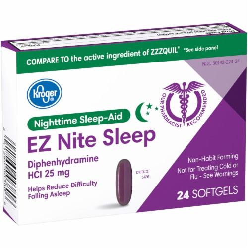 Kroger® EZ Nite Sleep Nighttime Sleep-Aid Softgels 25mg Perspective: left