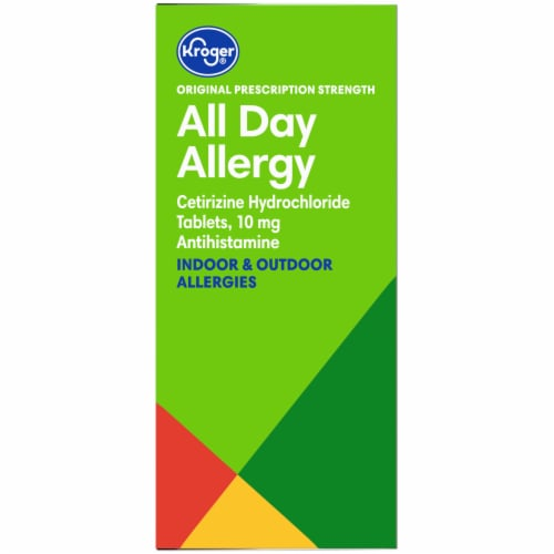 Kroger® All Day Allergy Antihistamine 10mg Tablets Box Perspective: left
