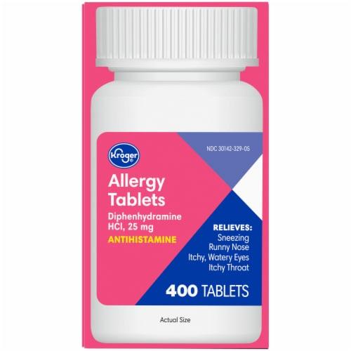 Kroger® Allergy Relief Antihistamine 25mcg Tablets Bottle Perspective: left