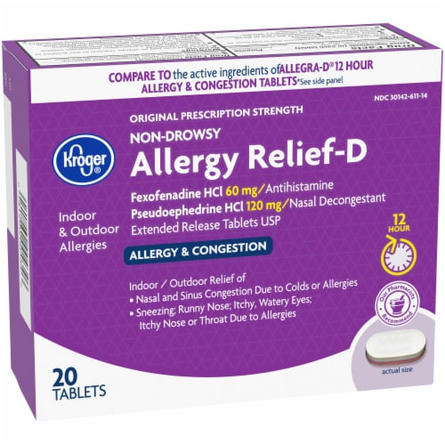 Kroger® Non-Drowsy Allergy Relief-D Tablets 120mg Perspective: left