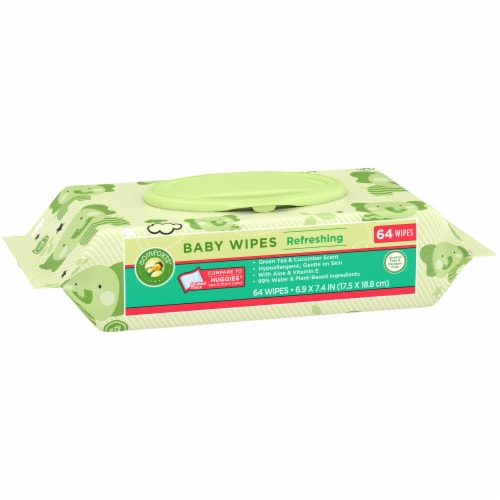 Comforts™ Refreshing Green Tea & Cucumber Scent Baby Wipes Perspective: left
