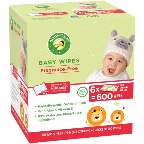 Comforts™ Fragrance-Free Baby Wipes Soft Packs Perspective: left