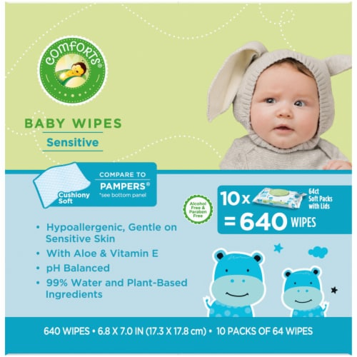Comforts™ Sensitive Baby Wipes Soft Packs Perspective: left