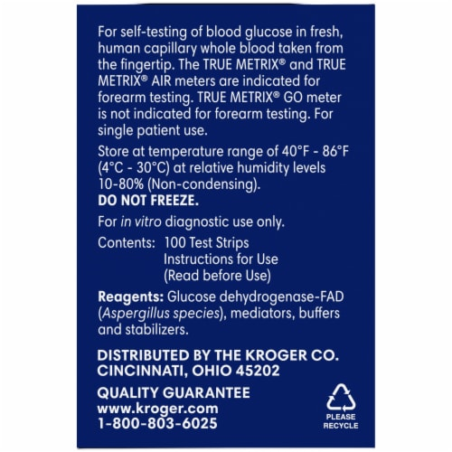 Kroger® True Metrix® Self Monitoring Blood Glucose Test Strips Perspective: left