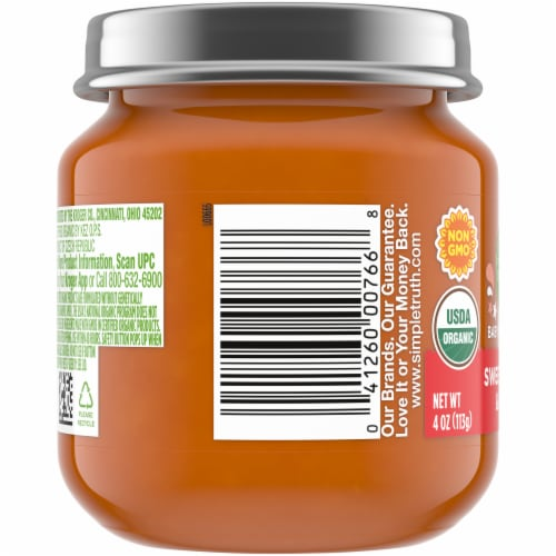 Simple Truth Organic® Sweet Potato and Apple Baby Food Puree Jar Perspective: left
