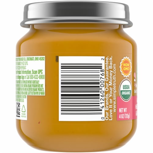 Simple Truth Organic® Apple Nectarine and Banana Baby Food Jar Perspective: left